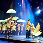 Singin' in the rain – Borås stadsteater, Jan Hjalmarsson med ensemble. Regi: Åsa Olofsson, Scenbild: Richard Andersson. Foto: Olle Renklint